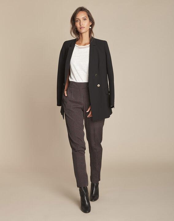 Pantalon noir droit cigarette imprimé Erende PhotoZ | 1-2-3