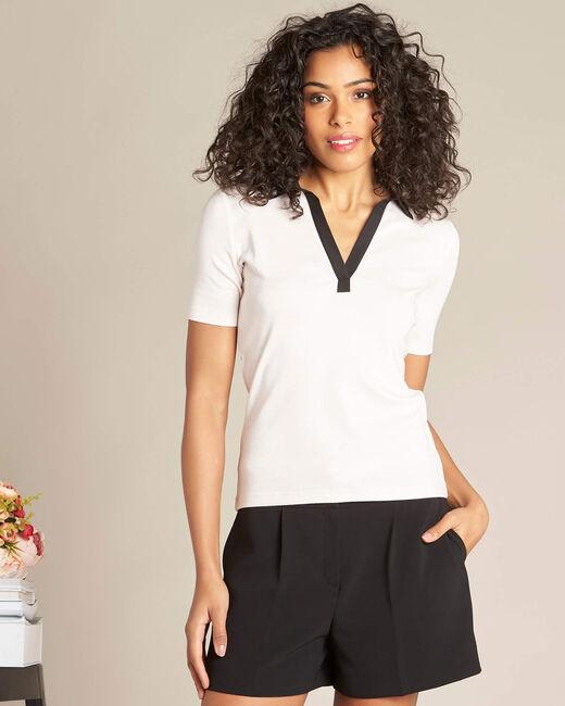 Tee shirt col chemisier rose pale et noir Bowling (2) - 1-2-3