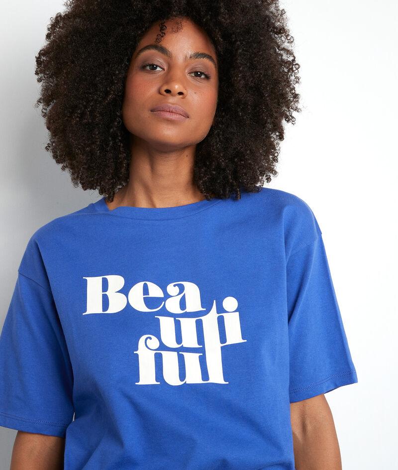Tee-shirt sérigraphié en coton bio bleu Equateur PhotoZ | 1-2-3