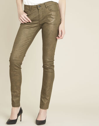 Kaki slim-fit jeans met coating en dierenprint vendome feuille.