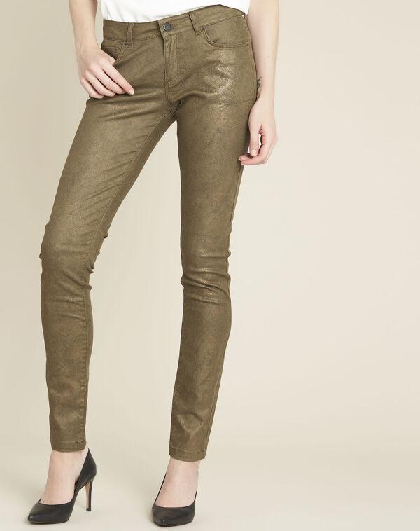 Kaki slim-fit jeans met coating en dierenprint Vendome (1) - 37653