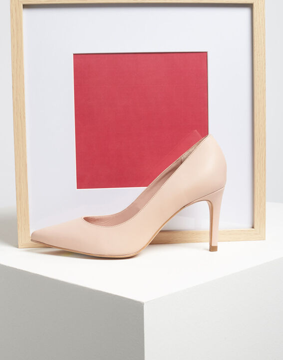 Kelly pale pink pointed-toe leather heels (5) - 1-2-3