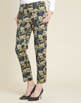 Viva tapered trousers with leaf print leaf.