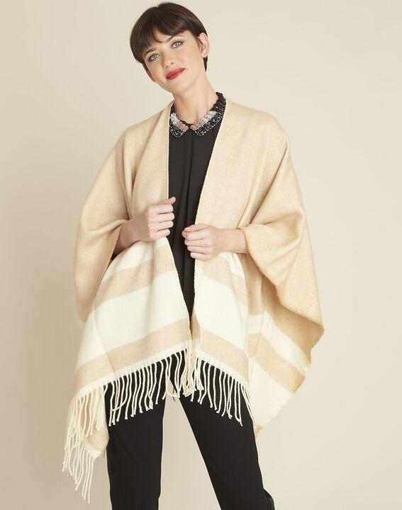 Fadila camel fringed poncho (1) - Maison 123