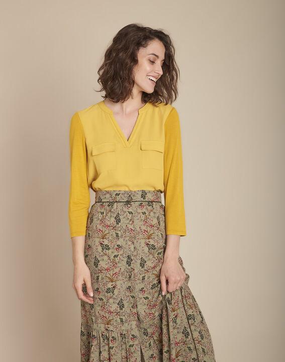 Anijskleurige blouse uit twee materialen met V-hals Genna PhotoZ   1-2-3