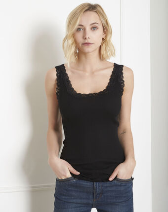 Guest black vest top in cotton and silk with lace neckline black.