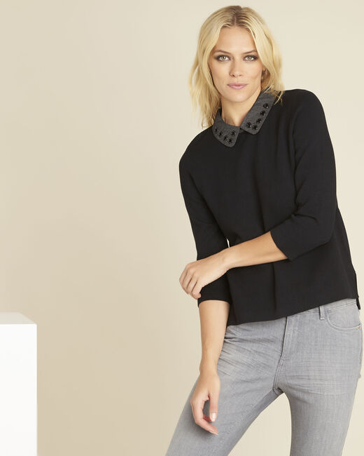 Bianca black sweater with Peter Pan collar (2) - 1-2-3