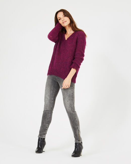 Paprika blackcurrant V-neck sweater in mohair and alpaca (1) - 1-2-3