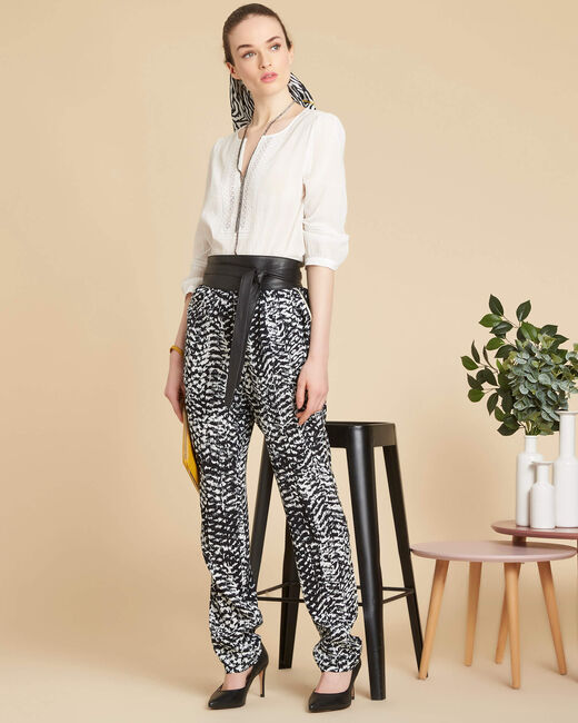 Samy black and white printed trousers (2) - 1-2-3
