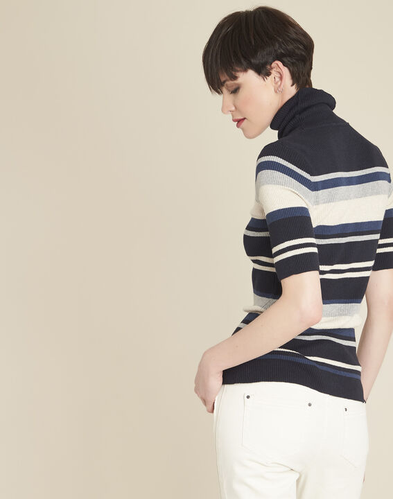 Barthe navy striped sweater with polo-neck (4) - 1-2-3
