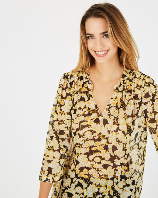 Erine yellow floral print blouse (2) - 1-2-3