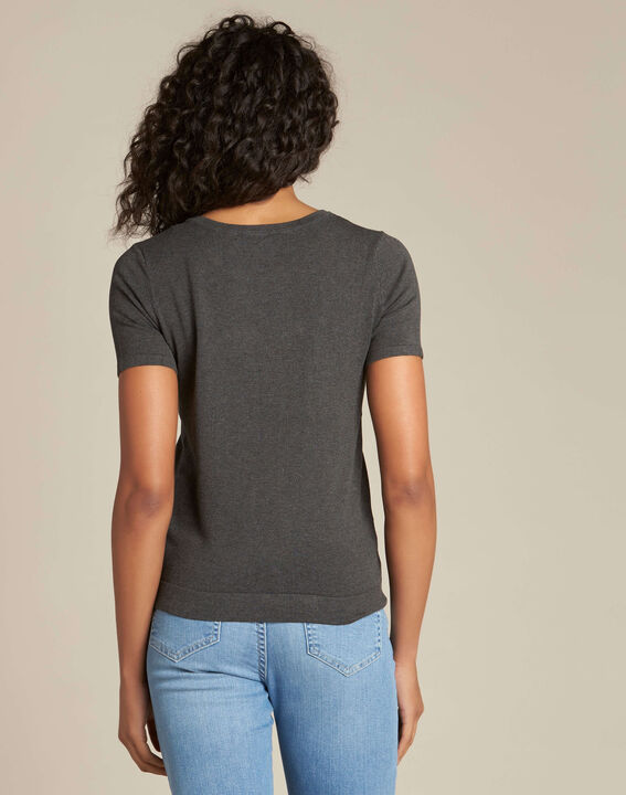 Novella embroidered grey sweater with short sleeves (4) - 1-2-3