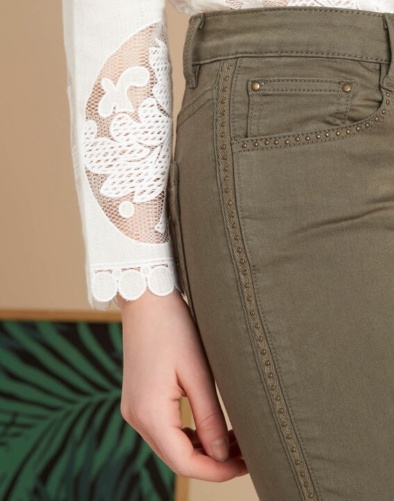 Vendôme 7/8 length khaki jeans with studded detailing PhotoZ | 1-2-3