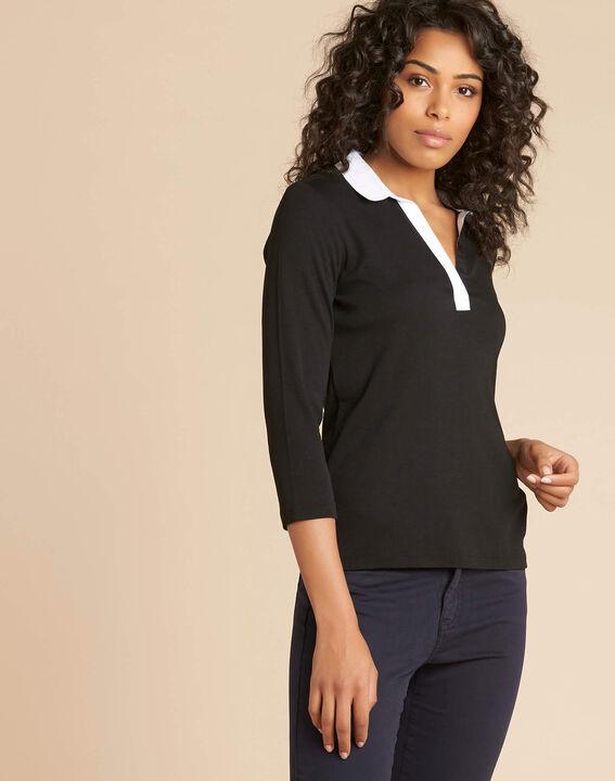 Schwarz-weißes T-Shirt mit Hemdkragen Bowling (3) - 1-2-3