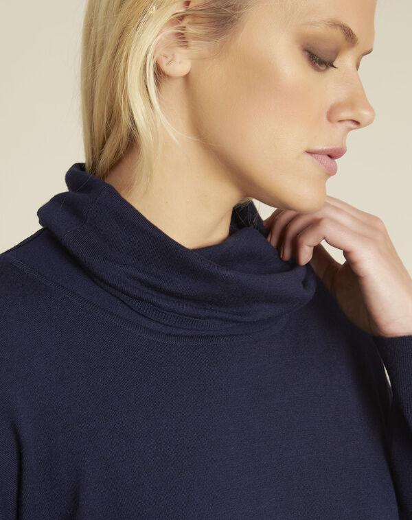 Donkerblauwe trui met bolkraag Blaise (2) - 37653