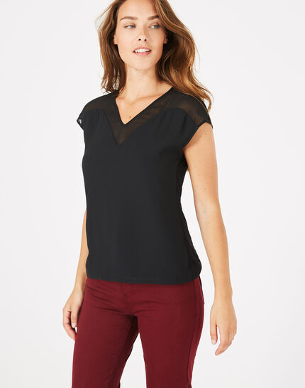 Beryl black dual-fabric T-shirt (3) - 1-2-3
