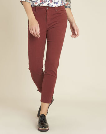Opéra 7/8 length mahogany slim-cut jeans with zip detailing terracotta.