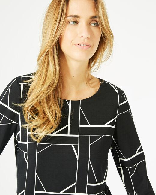 Tee-shirt noir imprimé graphique Losange (2) - 1-2-3