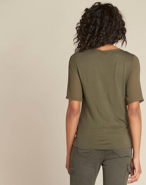 Khakifarbenes T-Shirt mit Perlen-Tupfen und Georgette-Ärmeln Eclipse (4) - 1-2-3