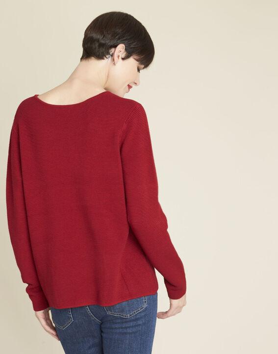 Pull rouge détails poches Blandine (4) - 1-2-3