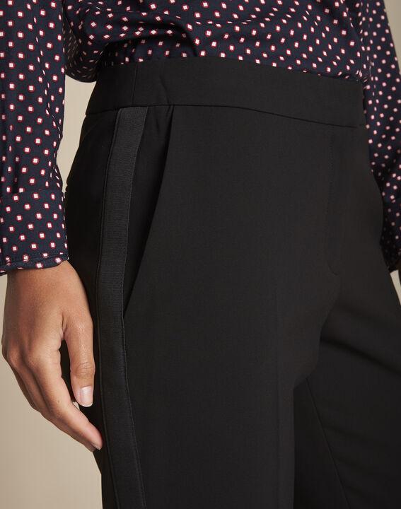 Pantalon noir et sa bande latérale microfibre Suzanne (3) - 1-2-3