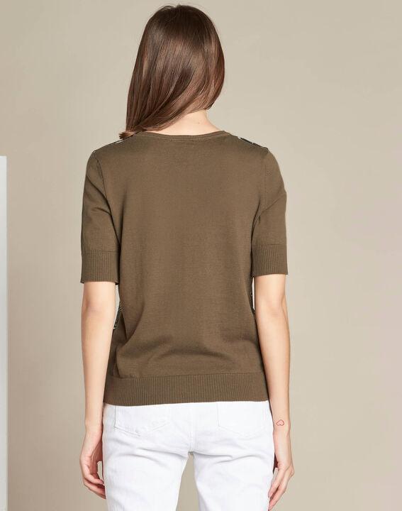 Natura dual-fabric khaki sweater with leaf print (4) - 1-2-3