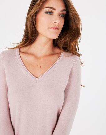 Pivoine pink v-neck sweater in cashmere dusky rose.