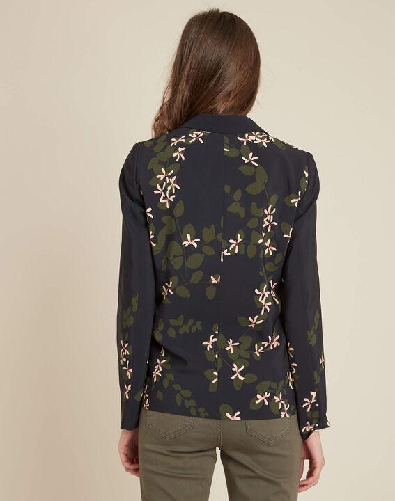 Veste tailleur noire imprimé fleuri Demoiselle (4) - 1-2-3