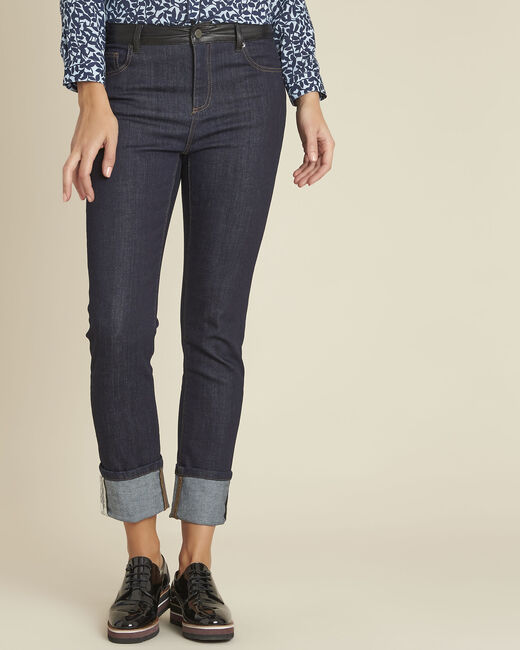 Vivienne navy straight cut jeans with turn-ups. (2) - 1-2-3