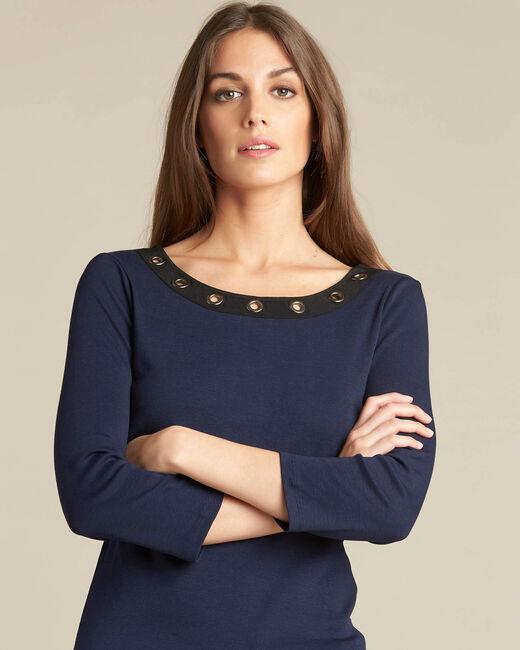 Marineblaues T-Shirt mit Ösen Basic (1) - 1-2-3