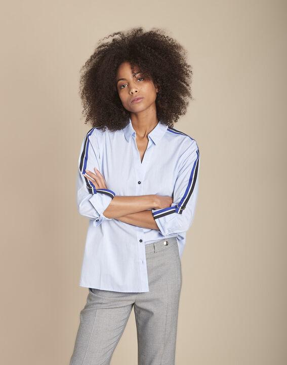 Blaue Bluse aus Popeline mit kontrastfarbenen Borten Mauranne PhotoZ | 1-2-3