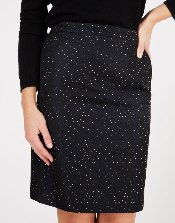 Folie navy blue straight-cut skirt with constellations PhotoZ | 1-2-3