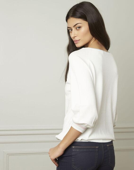 Pull blanc esprit sporty détails lurex Amarante (3) - Maison 123