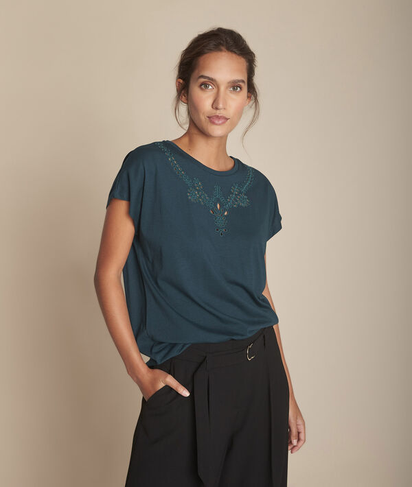 Tee-shirt vert foncé brodé Chypre PhotoZ   1-2-3