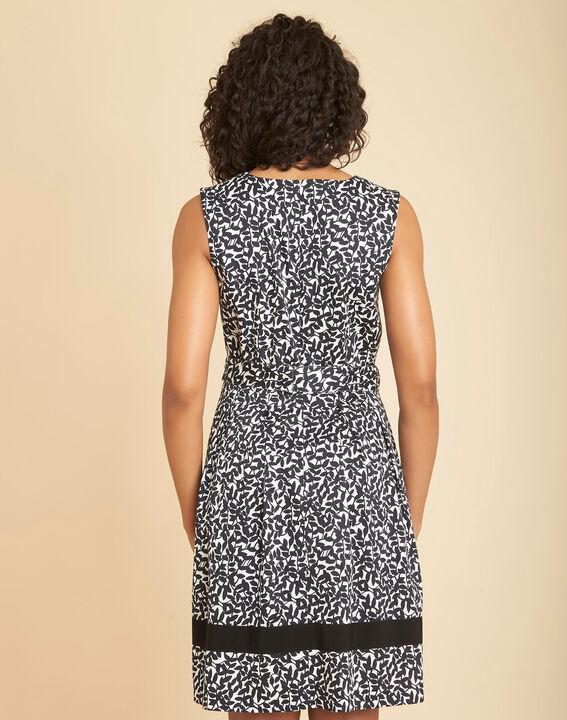 Isis black printed dress with V-neckline (4) - 1-2-3