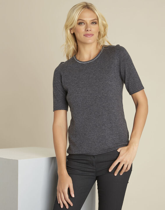Ballet grey wool cashmere pullover with short sleeves PhotoZ | 1-2-3