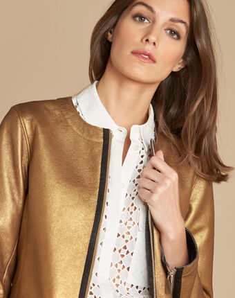 Festive jacket with grosgrain detailing bronze.