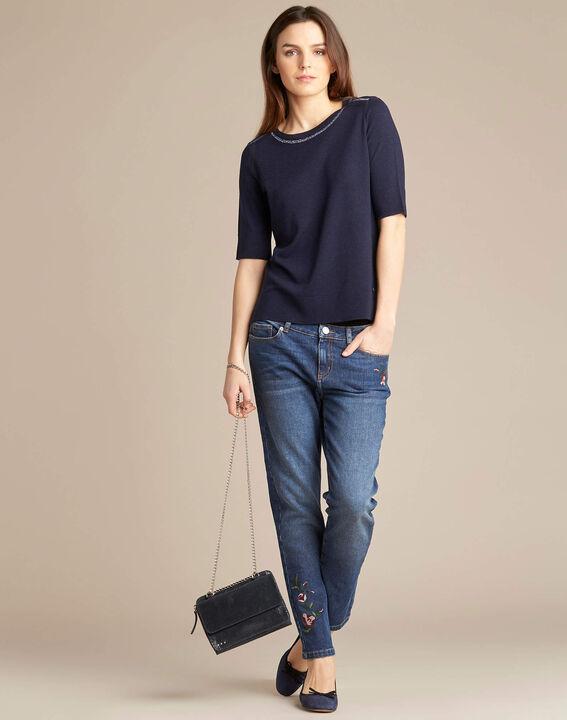 Marineblauwe trui met korte mouwen van wol en zijde Nevada (2) - 37653