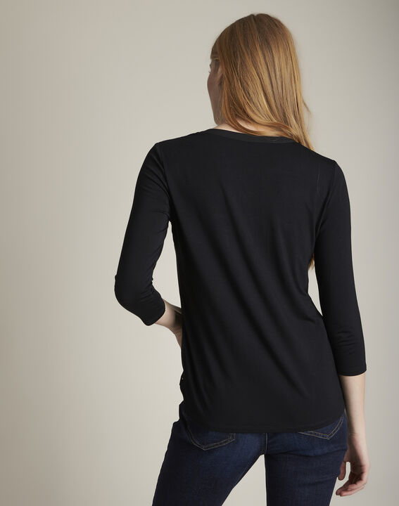 Genna V-neck black dual-fabric blouse (4) - 1-2-3