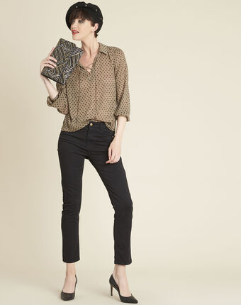 Caroline khaki polka dot blouse with laced neckline kaki.