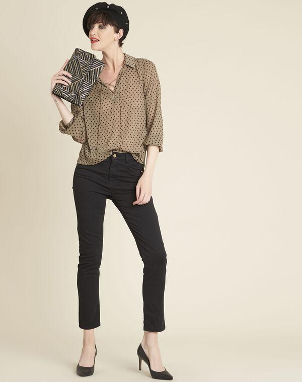 Kaki blouse met stippen en rijgwerk aan de halsopening Caroline (1) - 37653