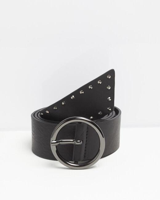 Breiter schwarzer Ledergürtel mit Nieten Raphael (1) - 1-2-3