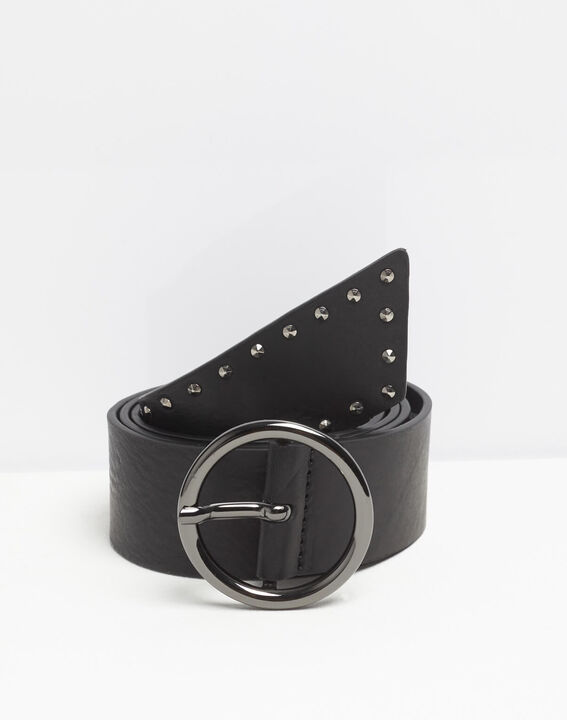 Breiter schwarzer Ledergürtel mit Nieten Raphael (2) - 1-2-3