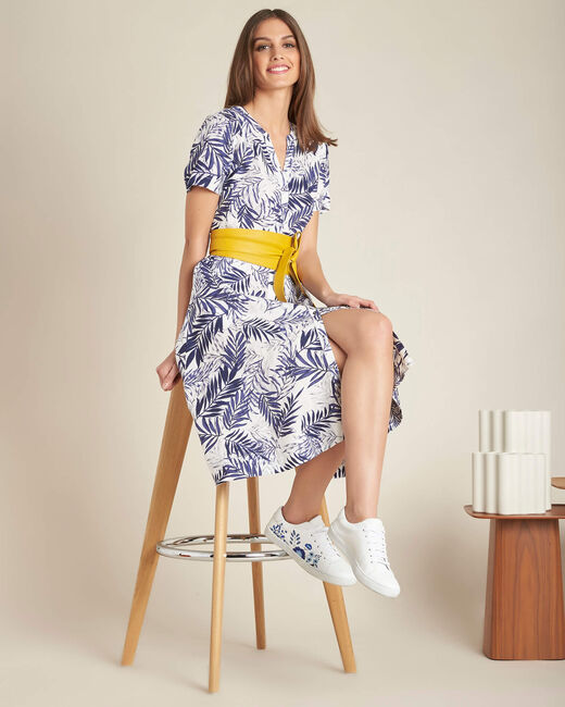 Palmire blue printed linen dress (2) - 1-2-3