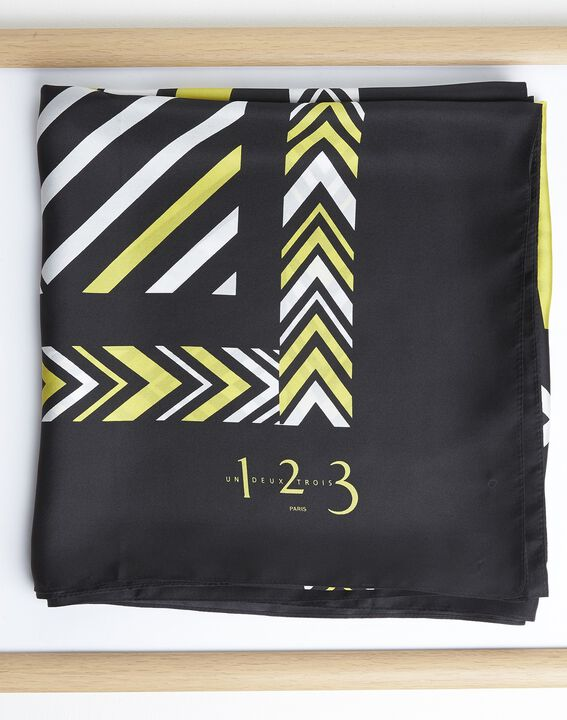 Amadeus yellow graphic printed square scarf in silk PhotoZ   1-2-3