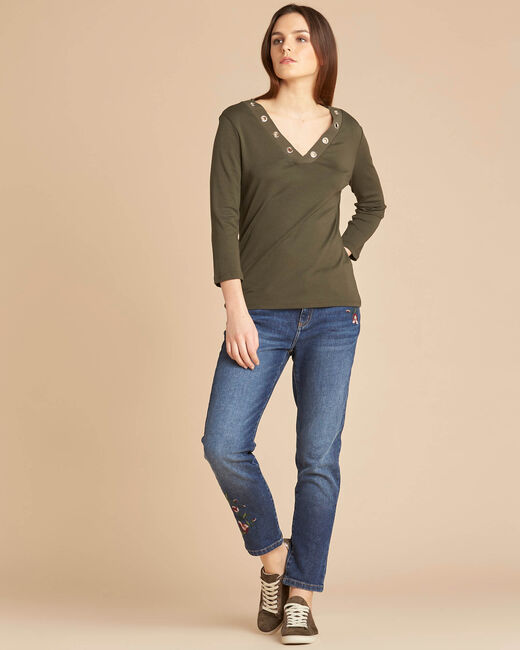 Basic khaki T-shirt with rounded neckline and eyelets (1) - 1-2-3