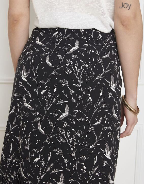 Jupe noire imprimé fleuri Senvol (5) - Maison 123