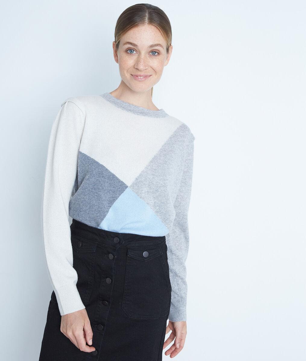 Grijze trui van kasjmier met geometrische jacquard Triangle PhotoZ | 1-2-3