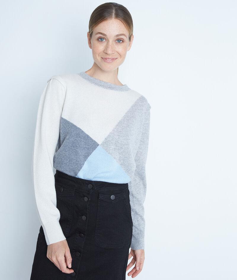 Pull gris en cachemire au jacquard géométrique Triangle PhotoZ | 1-2-3