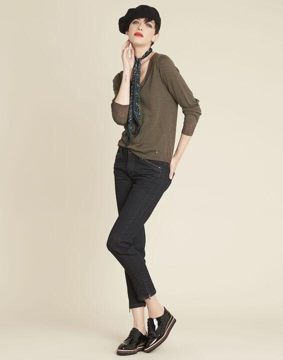 Khakifarbener dünner Pullover mit V-Ausschnitt Bergamotte (2) - 1-2-3